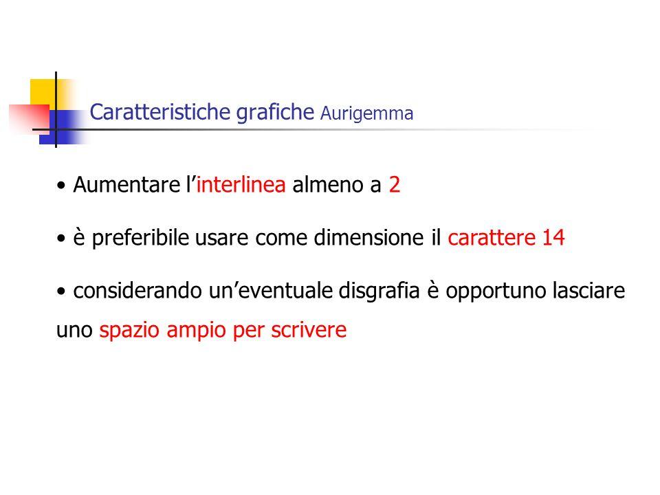 Caratteristiche grafiche Aurigemma
