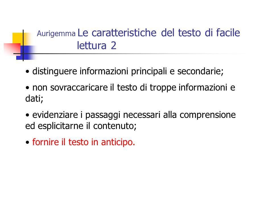 Aurigemma Le caratteristiche del testo di facile lettura 2