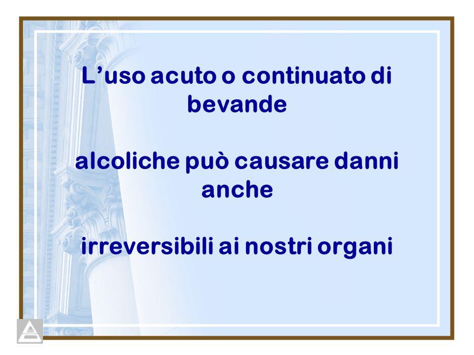 L'uso acuto o continuato di bevande alcoliche può causare danni anche irreversibili ai nostri organi