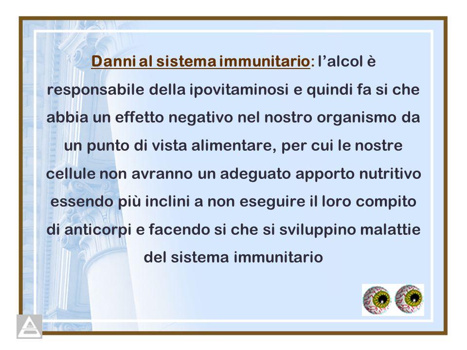 Danni al sistema immunitario: l'alcol è responsabile della ipovitaminosi e quindi fa si che abbia un effetto negativo nel nostro organismo da un punto di vista alimentare, per cui le nostre cellule non avranno un adeguato apporto nutritivo essendo più inclini a non eseguire il loro compito di anticorpi e facendo si che si sviluppino malattie del sistema immunitario