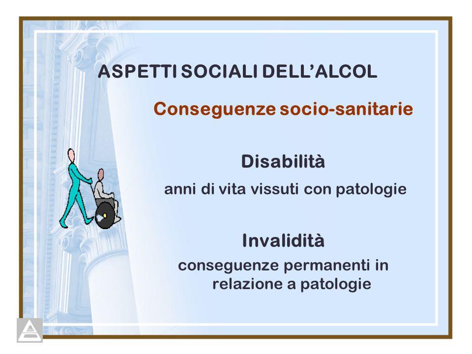 ASPETTI SOCIALI DELL'ALCOL Conseguenze socio-sanitarie