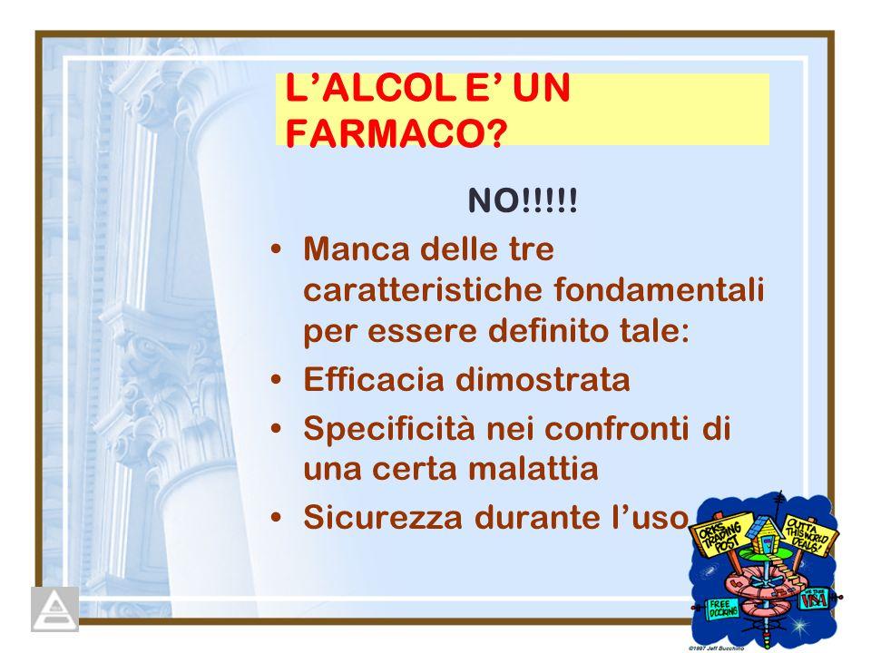 L'ALCOL E' UN FARMACO NO!!!!!