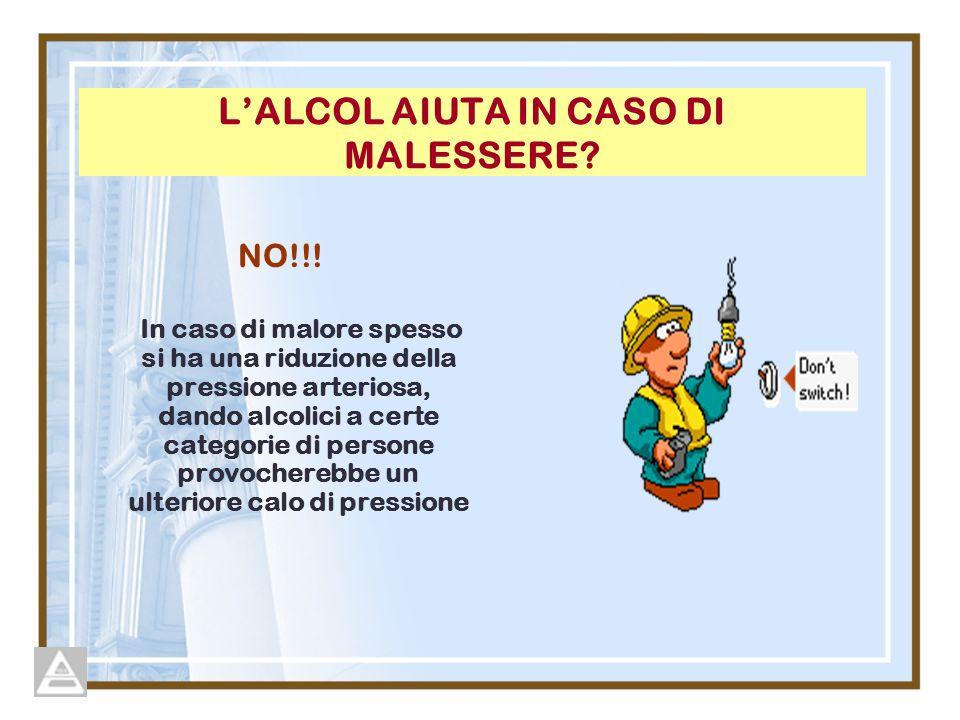 L'ALCOL AIUTA IN CASO DI MALESSERE