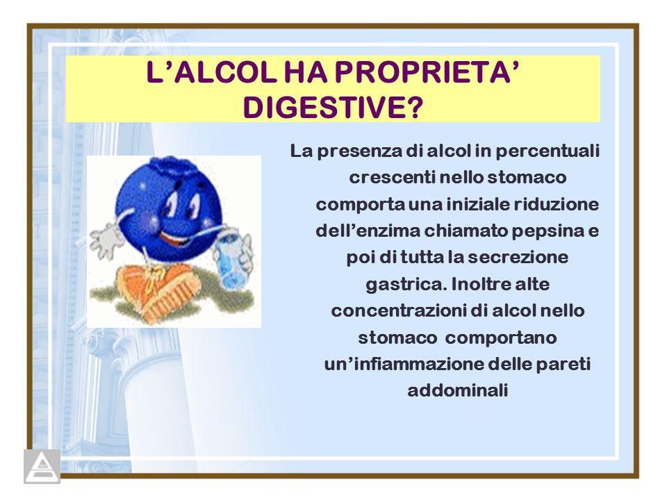 L'ALCOL HA PROPRIETA' DIGESTIVE