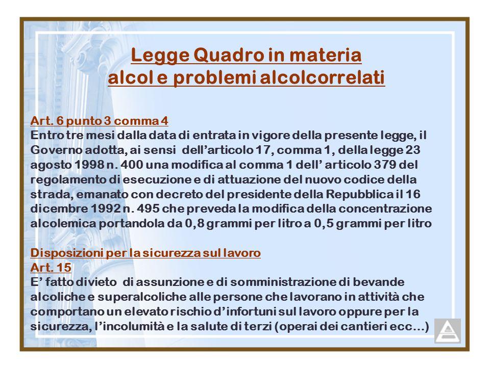 Legge Quadro in materia alcol e problemi alcolcorrelati