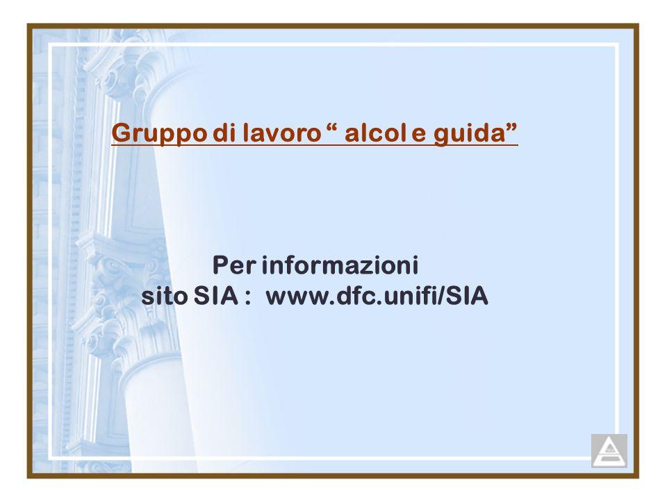 Gruppo di lavoro alcol e guida sito SIA : www.dfc.unifi/SIA