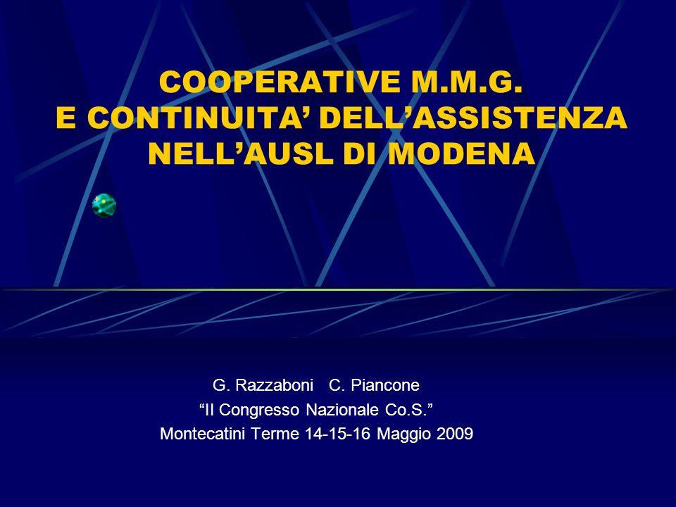 COOPERATIVE M.M.G. E CONTINUITA' DELL'ASSISTENZA NELL'AUSL DI MODENA
