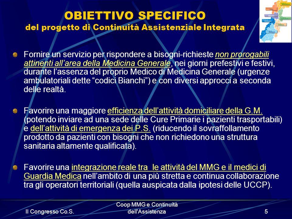OBIETTIVO SPECIFICO del progetto di Continuità Assistenziale Integrata
