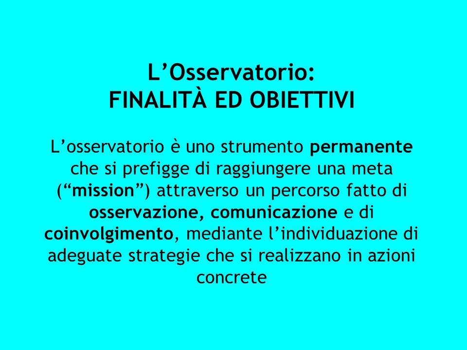 L'Osservatorio: FINALITÀ ED OBIETTIVI L'osservatorio è uno strumento permanente che si prefigge di raggiungere una meta ( mission ) attraverso un percorso fatto di osservazione, comunicazione e di coinvolgimento, mediante l'individuazione di adeguate strategie che si realizzano in azioni concrete