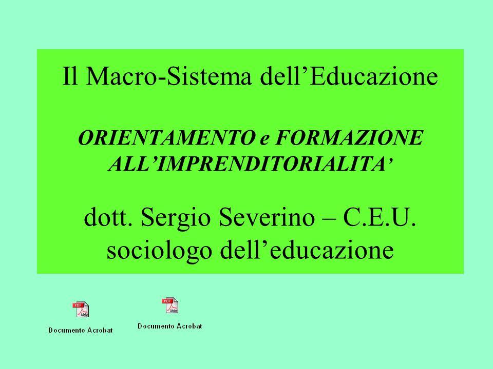 Il Macro-Sistema dell'Educazione ORIENTAMENTO e FORMAZIONE ALL'IMPRENDITORIALITA' dott.