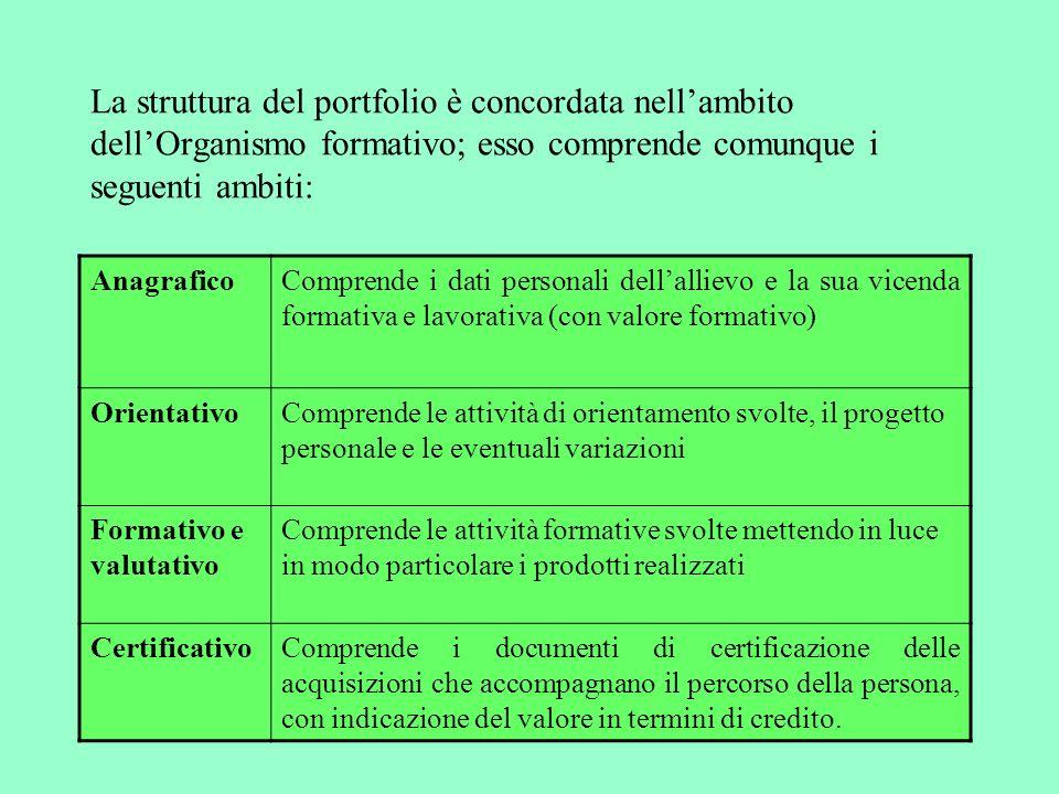 La struttura del portfolio è concordata nell'ambito dell'Organismo formativo; esso comprende comunque i seguenti ambiti: