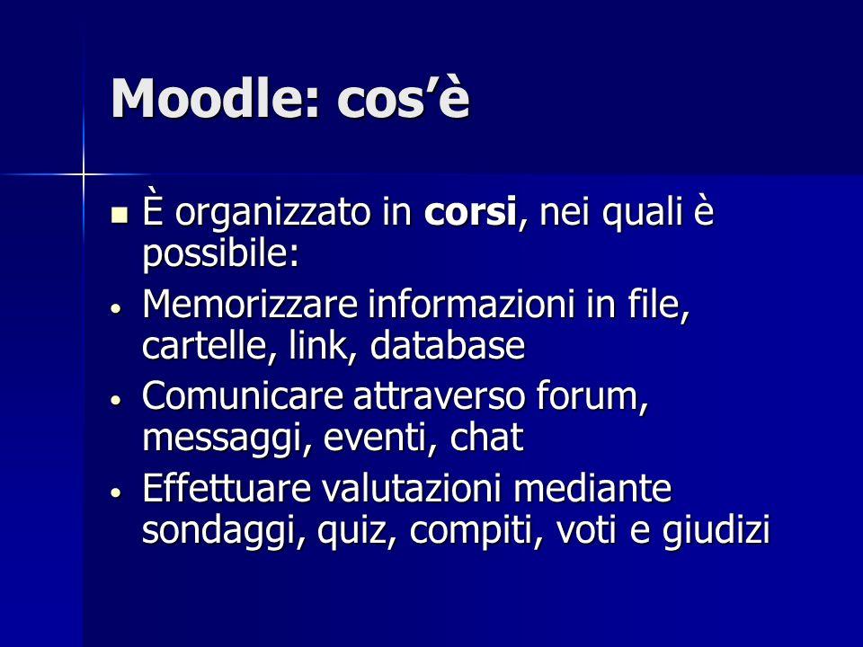 Moodle: cos'è È organizzato in corsi, nei quali è possibile: