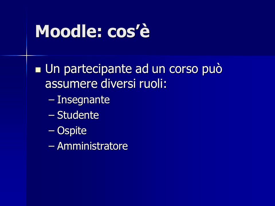 Moodle: cos'è Un partecipante ad un corso può assumere diversi ruoli: