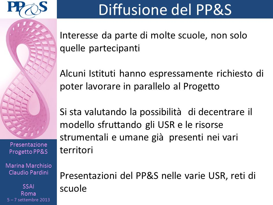 Diffusione del PP&S Interesse da parte di molte scuole, non solo quelle partecipanti.