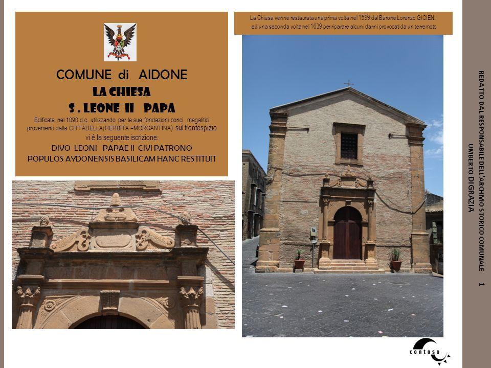 COMUNE di AIDONE La Chiesa s . leone ii papa