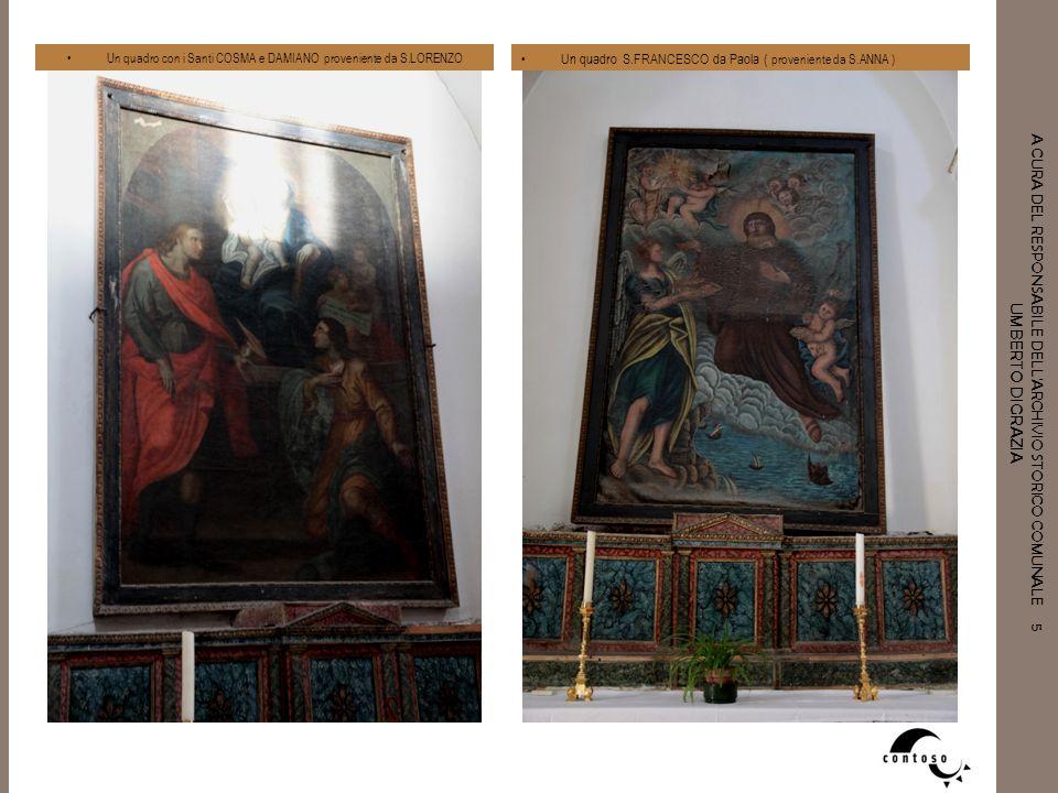 Un quadro con i Santi COSMA e DAMIANO proveniente da S.LORENZO