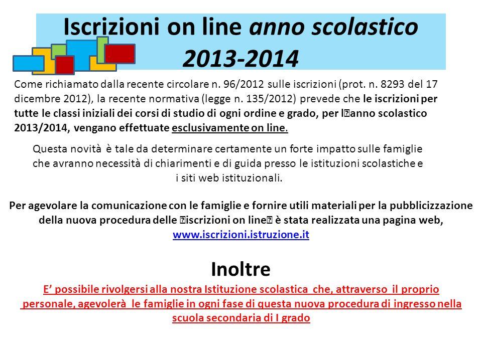 Iscrizioni on line anno scolastico 2013-2014