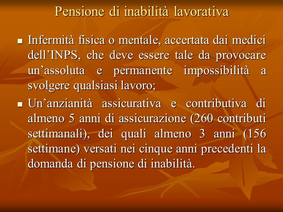 Pensione di inabilità lavorativa
