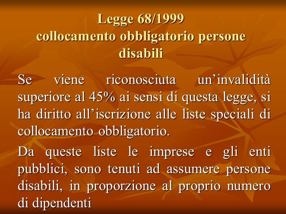 Legge 68/1999 collocamento obbligatorio persone disabili