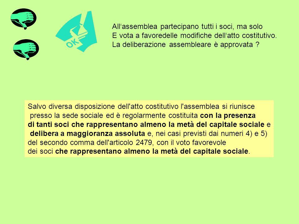 All'assemblea partecipano tutti i soci, ma solo E vota a favoredelle modifiche dell'atto costitutivo. La deliberazione assembleare è approvata