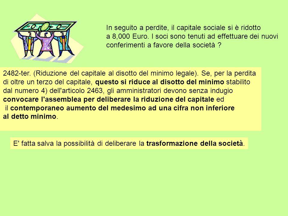 In seguito a perdite, il capitale sociale si è ridotto a 8,000 Euro