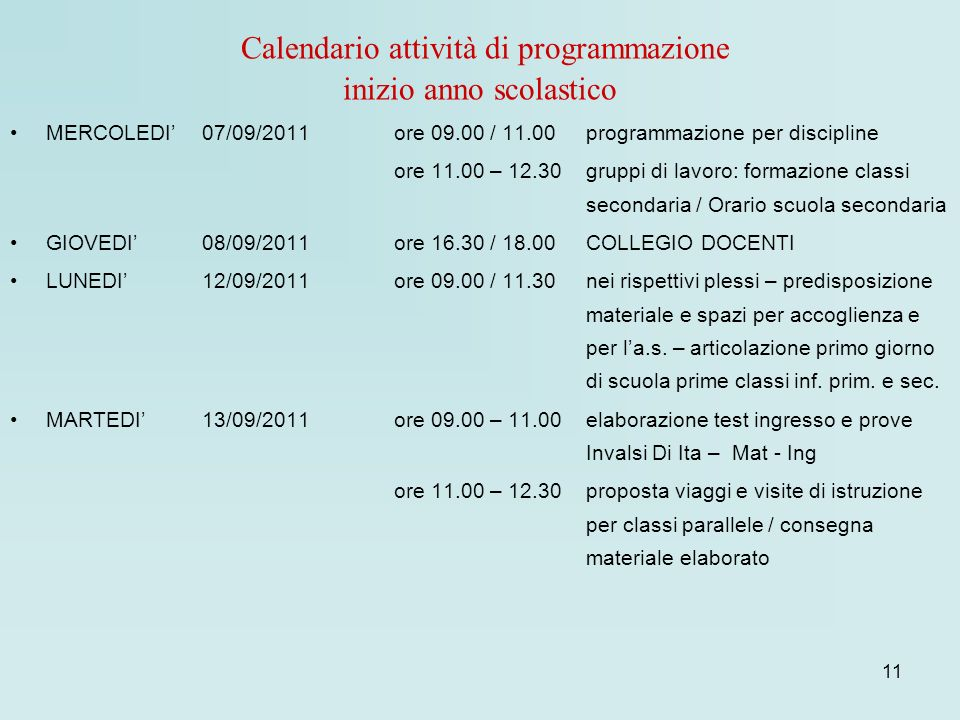 Calendario attività di programmazione inizio anno scolastico