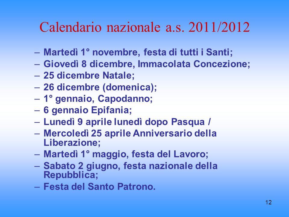 Calendario nazionale a.s. 2011/2012