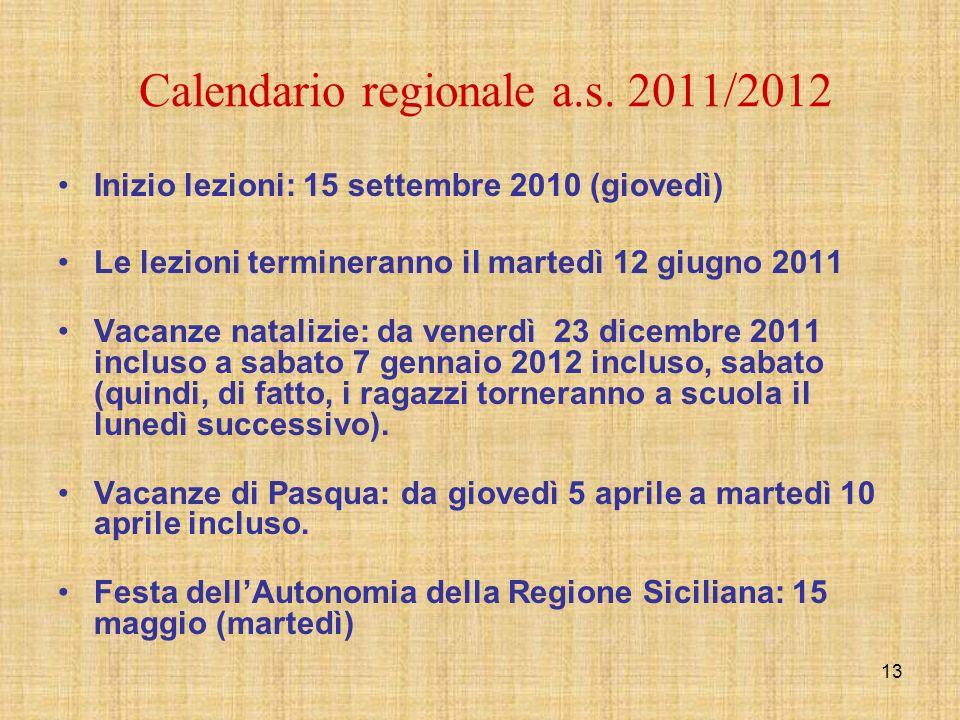 Calendario regionale a.s. 2011/2012