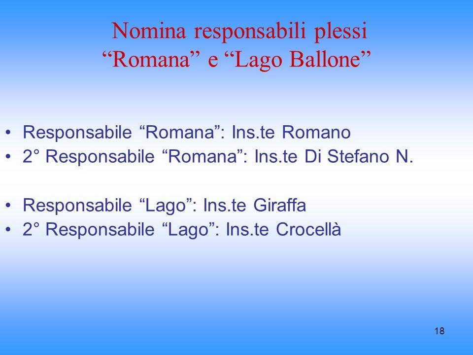 Nomina responsabili plessi Romana e Lago Ballone