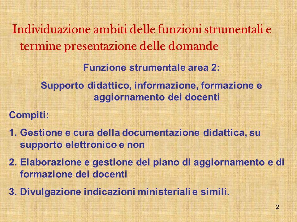 Funzione strumentale area 2:
