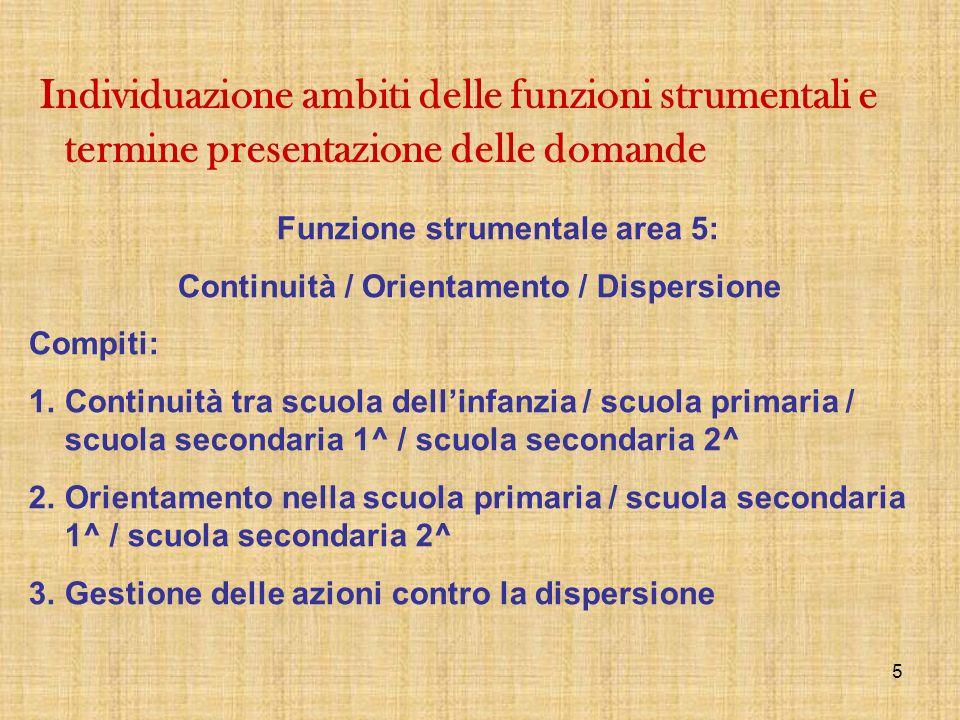 Funzione strumentale area 5: Continuità / Orientamento / Dispersione