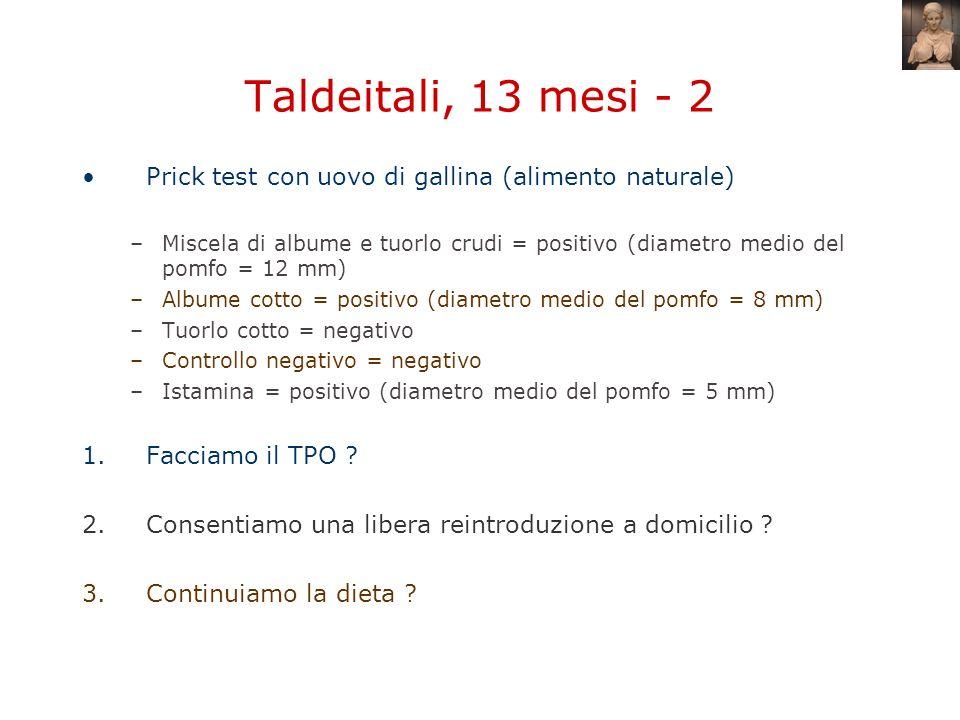 Taldeitali, 13 mesi - 2 Prick test con uovo di gallina (alimento naturale)