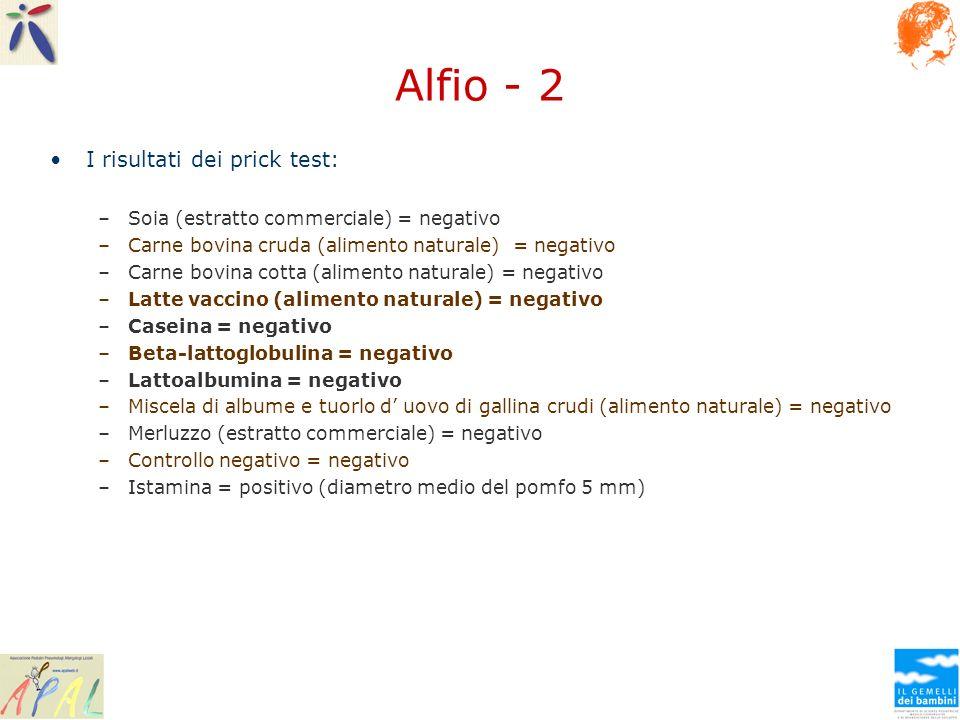 Alfio - 2 I risultati dei prick test: