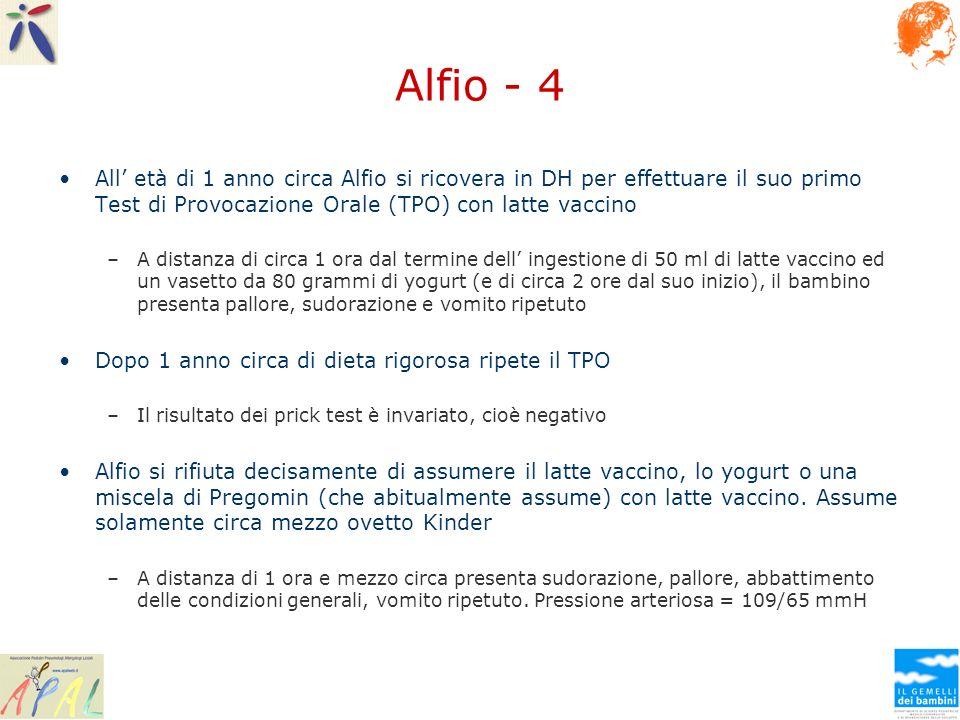 Alfio - 4 All' età di 1 anno circa Alfio si ricovera in DH per effettuare il suo primo Test di Provocazione Orale (TPO) con latte vaccino.