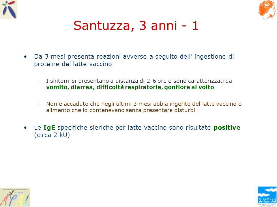 Santuzza, 3 anni - 1 Da 3 mesi presenta reazioni avverse a seguito dell' ingestione di proteine del latte vaccino.
