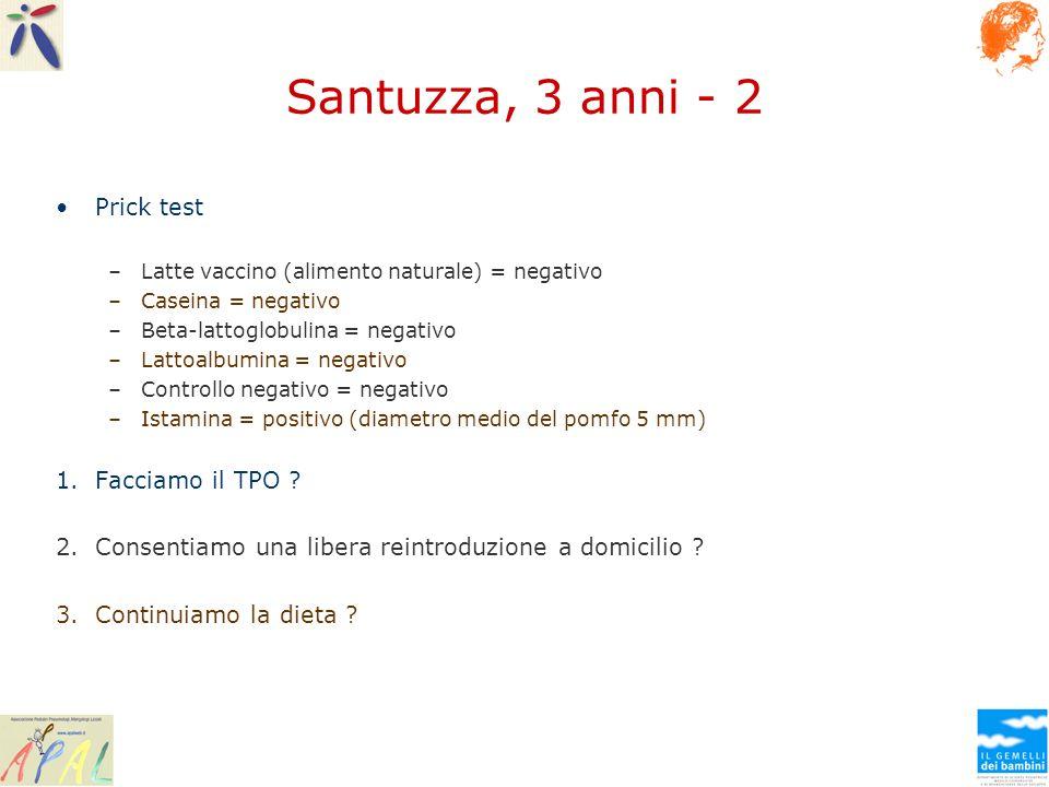 Santuzza, 3 anni - 2 Prick test Facciamo il TPO