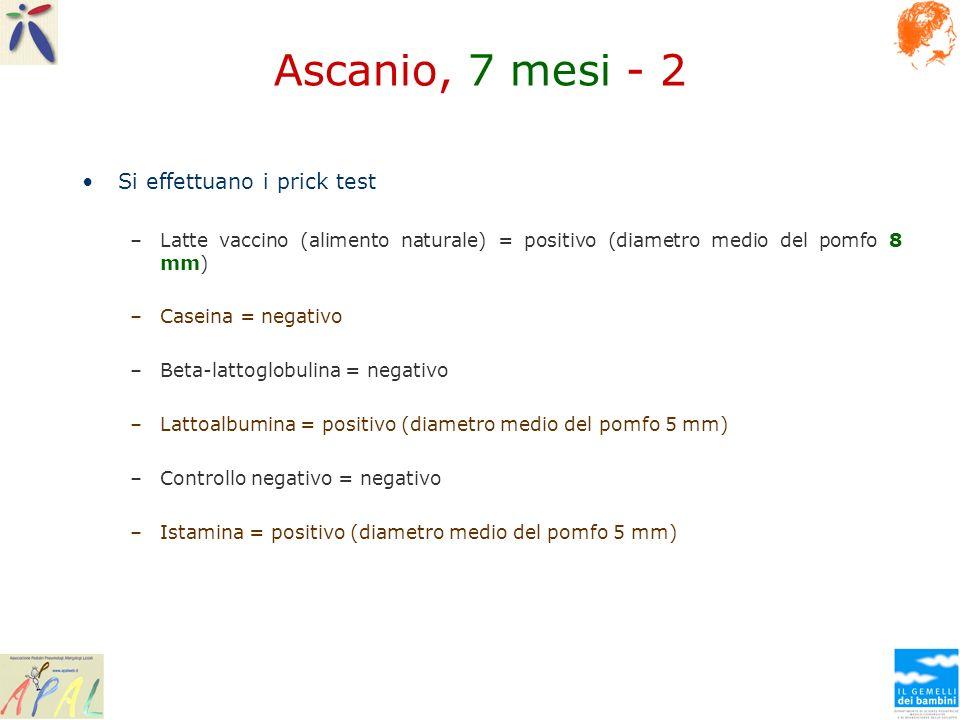 Ascanio, 7 mesi - 2 Si effettuano i prick test