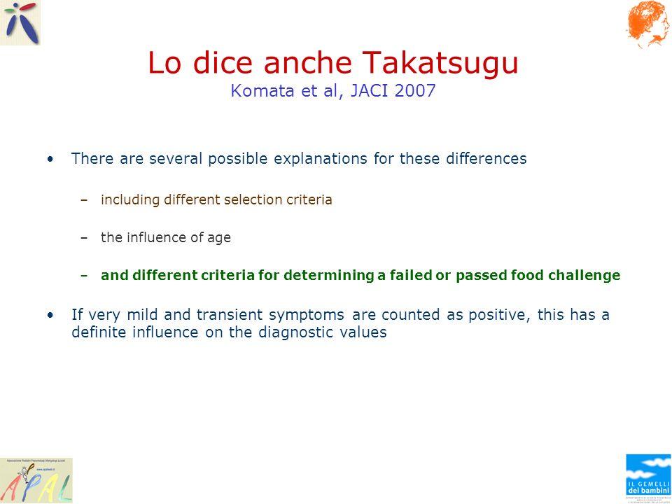 Lo dice anche Takatsugu Komata et al, JACI 2007