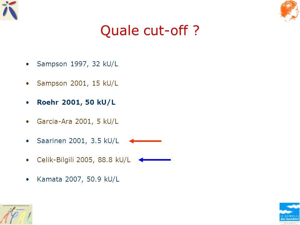 Quale cut-off Sampson 1997, 32 kU/L Sampson 2001, 15 kU/L