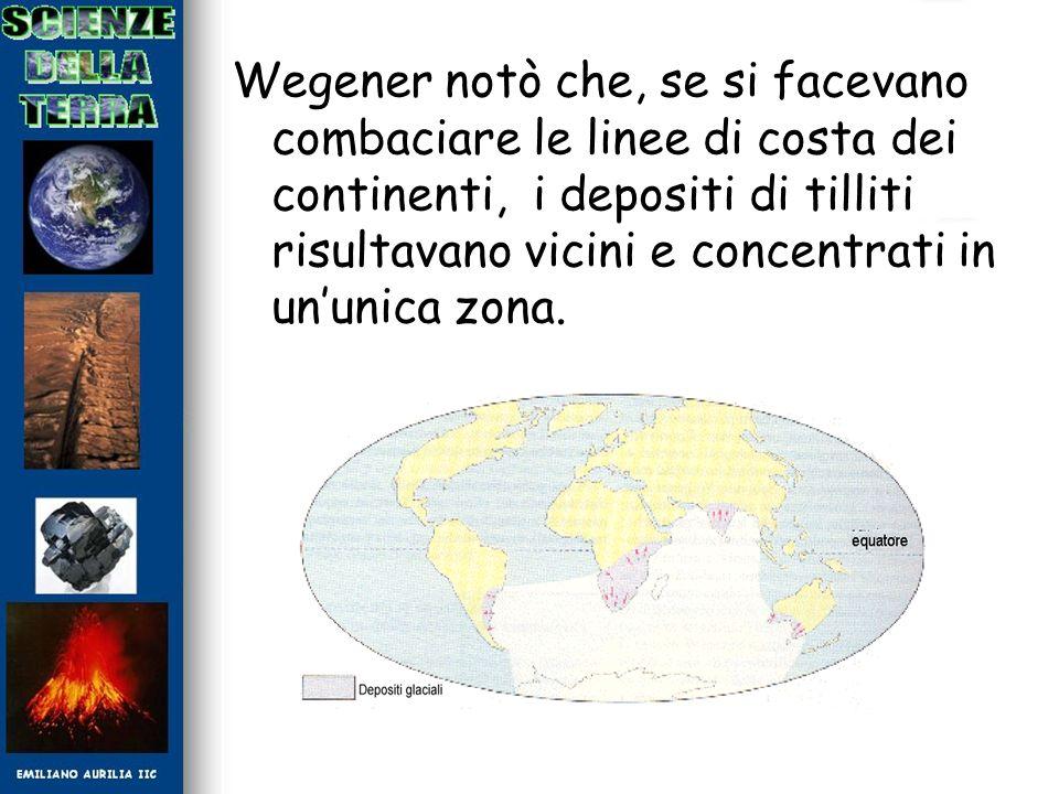 Wegener notò che, se si facevano combaciare le linee di costa dei continenti, i depositi di tilliti risultavano vicini e concentrati in un'unica zona.