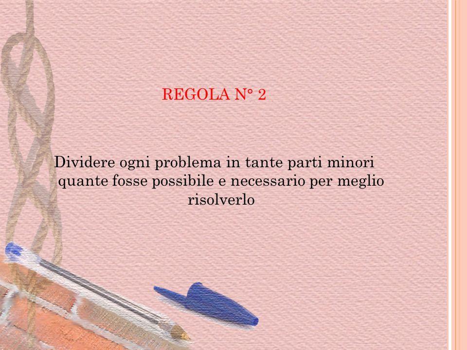 REGOLA N° 2 Dividere ogni problema in tante parti minori quante fosse possibile e necessario per meglio risolverlo.