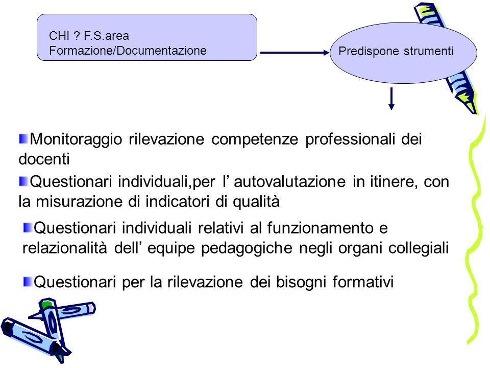 Monitoraggio rilevazione competenze professionali dei docenti