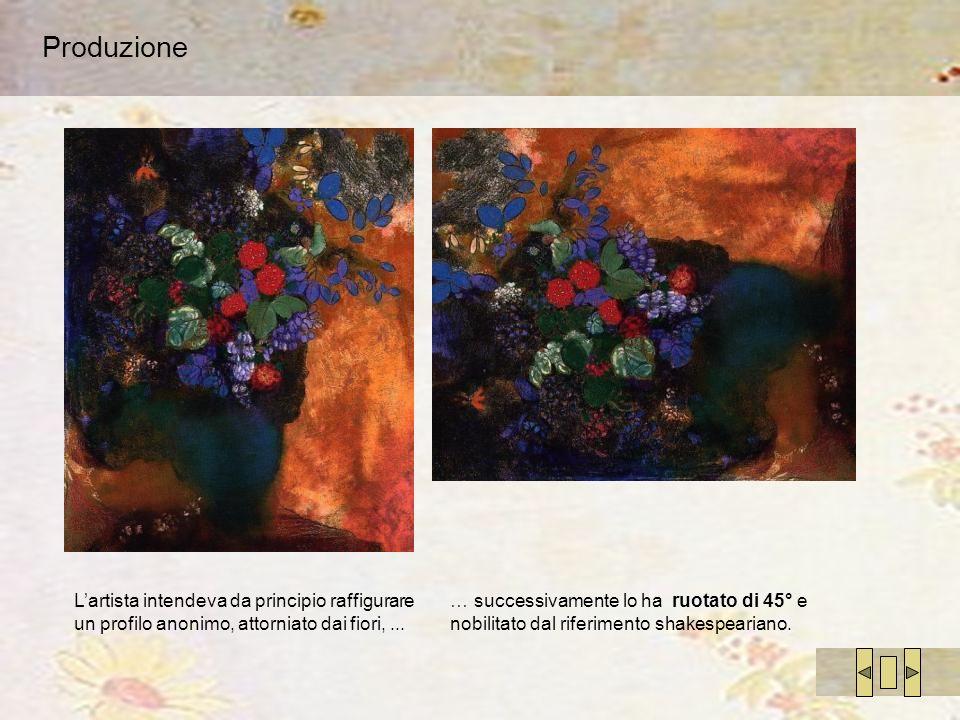 Produzione L'artista intendeva da principio raffigurare un profilo anonimo, attorniato dai fiori, ...