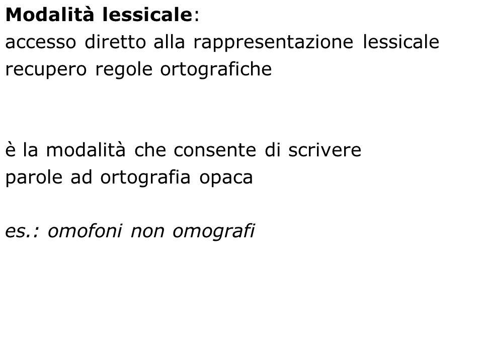 Modalità lessicale: accesso diretto alla rappresentazione lessicale. recupero regole ortografiche.