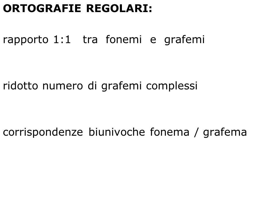 ORTOGRAFIE REGOLARI: rapporto 1:1 tra fonemi e grafemi.