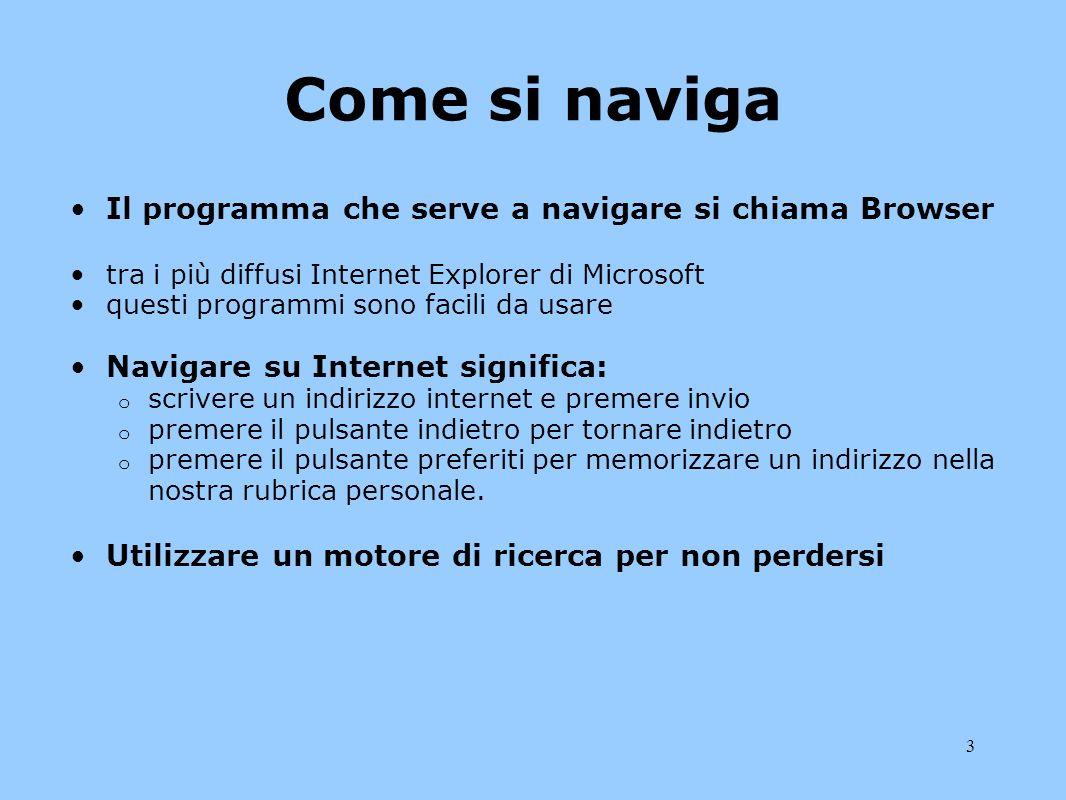 Come si naviga Il programma che serve a navigare si chiama Browser