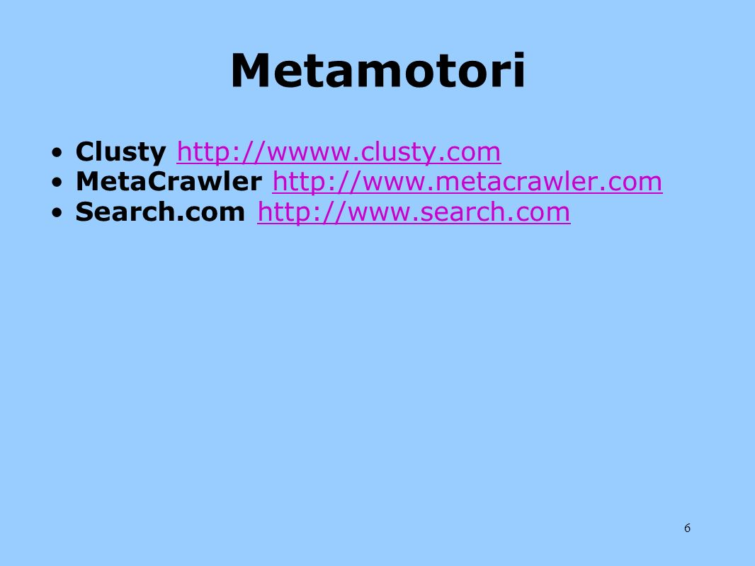 Metamotori Clusty http://wwww.clusty.com
