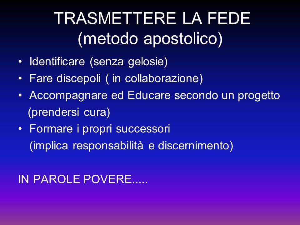 TRASMETTERE LA FEDE (metodo apostolico)