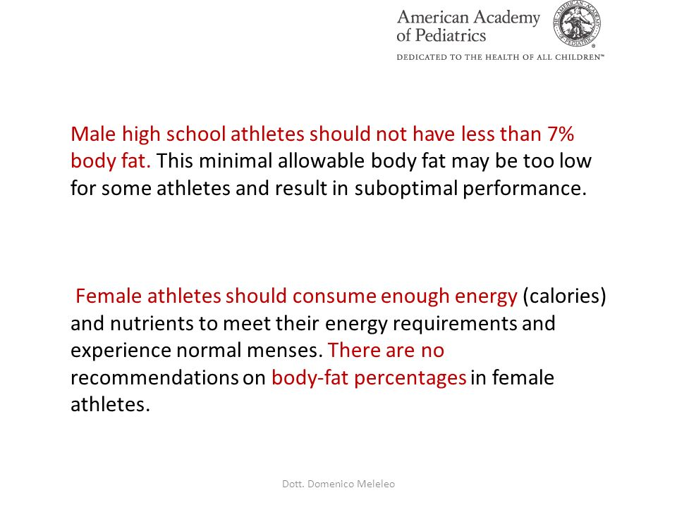 Male high school athletes should not have less than 7% body fat