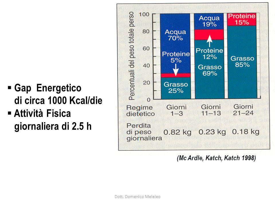 Gap Energetico di circa 1000 Kcal/die Attività Fisica